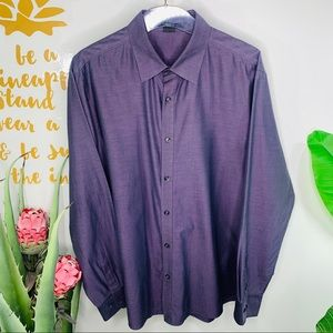 Theory Purple Button Front LS Dress Shirt XL